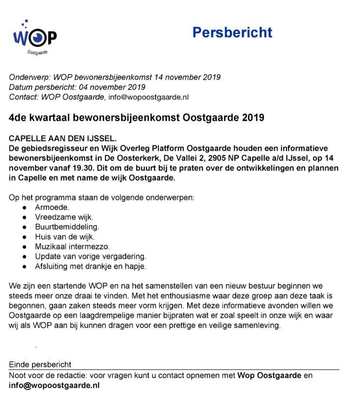 WOP Persbericht NOV 2019
